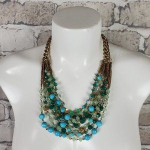 Stella & Dot Statement Necklace Gold Green Beads